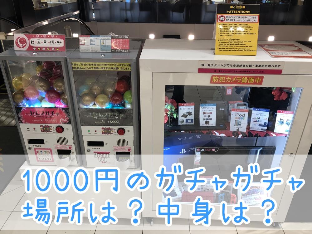 1000円のガチャガチャの場所と中身の写真